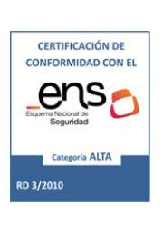 Enlace a imagen de certificación de conformidad con el Esquema Nacional de Seguridad Categoría Alta